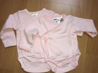 Zavinovací body 2 ks - růžovoučké pro princeznu, novorozence - vel. 50