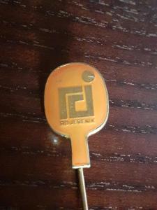 Odznak TJ  RD JESENÍK  - stolní tenis, oranžová   varianta