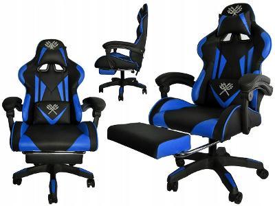 Herní židle kancelářské křeslo gamingové černo modré 8978