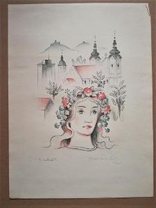 Ruda Kubíček / barevná litografie