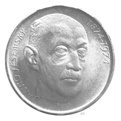 Vzácná stříbrná mince 50 Kčs 1974 Janko Jesenský, perfektní stav!