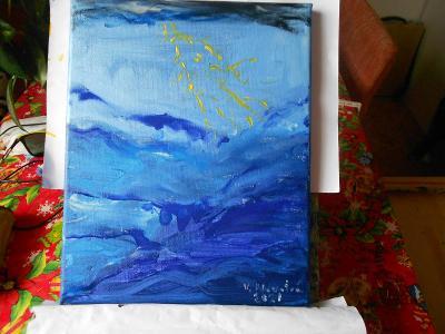 Obraz akryl originál  autorská malba Bouřka nad mořem