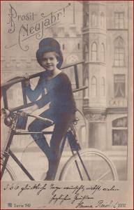 Nový rok * kominík, děti, kolo, cyklistika, gratulační * M2717