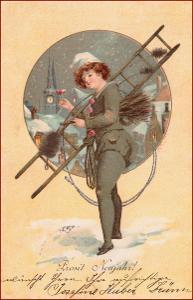 Nový rok * kominík, žena, zimní motiv, litografie, gratulační * M2755