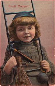 Nový rok * kominík, děti, portrét, žebřík, gratulační * M2803