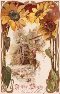 Slince * vodní mlýn, slunečnice, květiny, secesní motiv * M2815