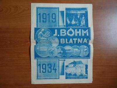 J. BÖHM -   BLATNÁ.....1919 - 1934....+ báseň F. F. Hájka: Patnáct let
