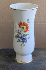 Míšeň - váza s kytičkami a zlacením - 21 cm - nepoškozená, značená
