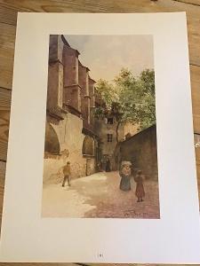 STARÁ PRAHA  Průchod u kostela SV. Anny  - akvarel  VÁCLAVA JANSY 1896