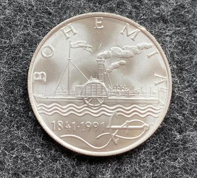 🌶 Stříbrná mince 50 Kčs Parník Bohemia 150. výročí 1991 - Perfektni