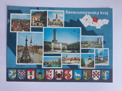 Severomoravský kraj - znaky měst - pohlednice VF