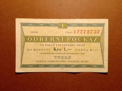 1 Kčs 1979 TUZEX - PĚKNÝ STAV !!!