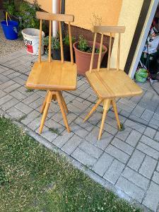 2x retro dřevěná židle - otočná
