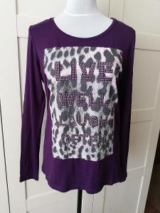 Bonprix-Dámské fialové,pružné tričko,s nápisy a kamínky,M/40-42.