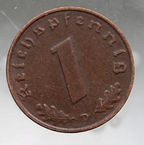 """1 říšský fenik, 1937 Značka mincovny """"D"""" - Mnichov  (t1/11)"""