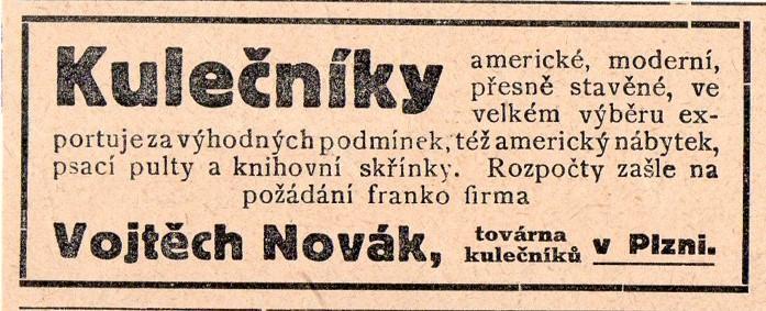 Reklama z dobového tisku kulečníky Novák, Plzeň
