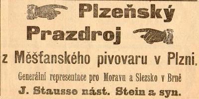 Reklama z dobového tisku Prazdroj, Plzeň