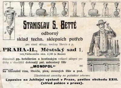 Reklama z dobového tisku sklepní potřeby, Praha