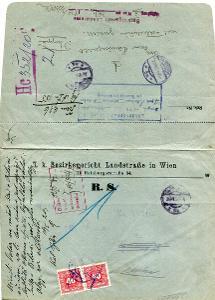 VÍDEŇ -OKRESNÍ SOUD NA LANDSTRASSE - DODEJKA DO OPAVY 1920  /AR 52-2