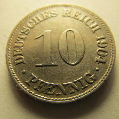 Německo, Kaiser Reich , 10 pfennig z roku 1904 D