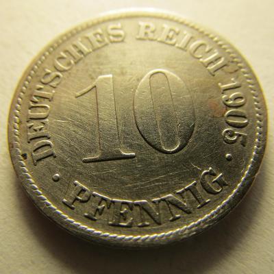 Německo, Kaiser Reich , 10 pfennig z roku 1905 D