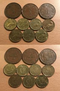 1 Cent 1972,75,77,86,91,95,98,2001,2004,2007 (Malta)