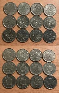 2 Cent 1972,76,77,82,86,91,93,95,98,2002,2004,2005 (Malta)