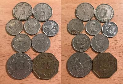 5 Cent 72,76,91,98,2001, 10C 72,86,98, 25C 1975 (Malta)