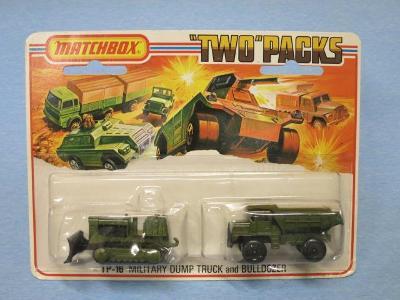 MATCHBOX - TP-16 DUMP TRUCK a BULLDOZER - LESNEY ENGLAND 1975 !!!