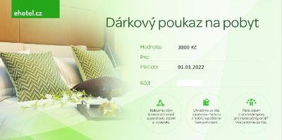EHOTEL DÁRKOVÝ POUKAZ 3000,-, PLATNOST DO ROKU 2022