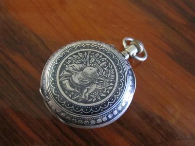 Stříbrné starožitné švýcarské kapesní hodinky REMONTOIR