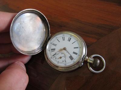 Stříbrné starožitné švýcarské kapesní hodinky REMONTOIR - funkční