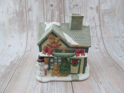 vánoční ozdoby Keramický svícen Svítící vánoční domek  kostel