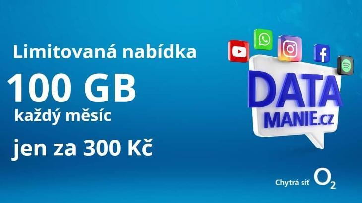 DATAMANIE - 100 GB dat každý měsíc za 300 Kč bez úvazku-DOPRAVA ZDARMA - Předplacené služby