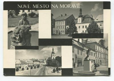 NOVÉ MĚSTO na Moravě, o. Žďár n. Sázavou - budovy, socha, náměstí