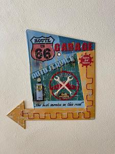 ROUTE 66 GARAGE - PLECHOVÁ CEDULE