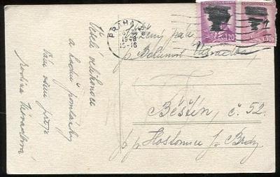Stará pohlednice známky + razítko