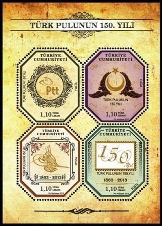 Turecko 2013 známky Aršík Mi 94 ** filatelie 150 let tureckých známek