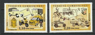 Turecko 2013 známky Mi 4029-4030 ** Europa CEPT poštovní auto koně