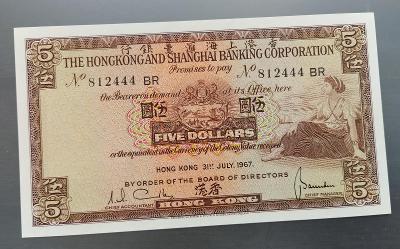 UNC HONGKONG 5 Dollars 1967