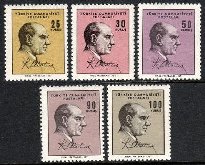 Turecko 1966 známky Mi 2027-2031 ** Prezident Kemal Ataturk