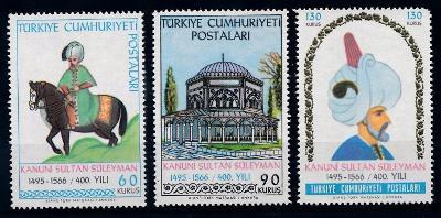 Turecko 1966 známky Mi 2015-2017 ** Sultán Sulejman I. Nádherný