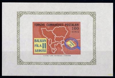 Turecko 1966 známky aršík Mi 12 ** filatelie mapa výstava poštovních z