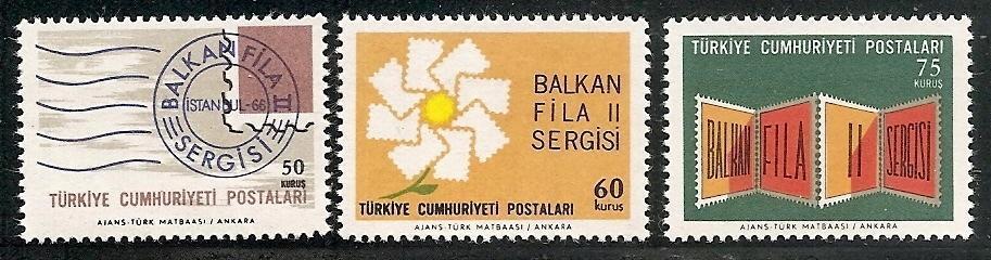 Turecko 1966 známky Mi 2011-2013 ** filatelie mapa výstava poštovních