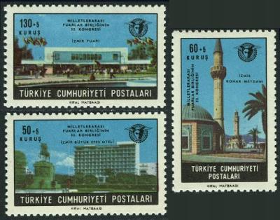 Turecko 1966 známky Mi 2020-2022 ** architektura mešita Smyrna İzmir