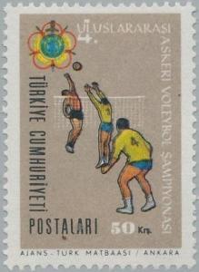 Turecko 1966 známky Mi 1998 ** sport volejbal armáda