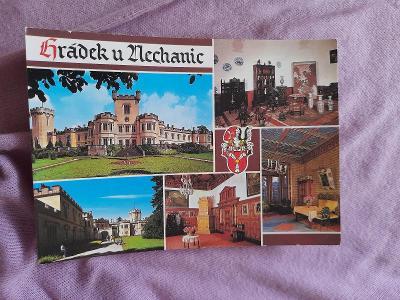 Pohlednice Hrádek u Nechanic,neprošlé poštou