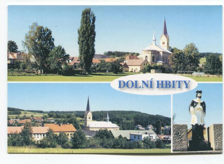 DOLNÍ HBITY, o. Příbram - vesnice, kostel, socha sv. Jana Nepomuckého - Pohlednice