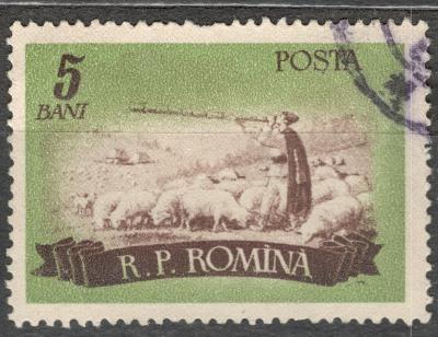 Rumunsko 1955 Mi 1551 chov ovcí, ovčák stádo, dlouhá pastýřská píšťala