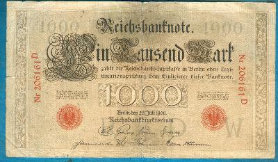 Německo 1000 marek 1906 podtisk W serie D